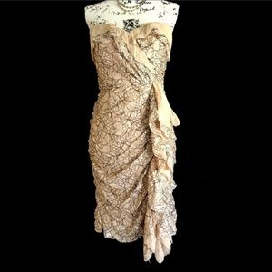 NWT BCBGMaxAzaria Woven Chiffon Silk Overlay Dress